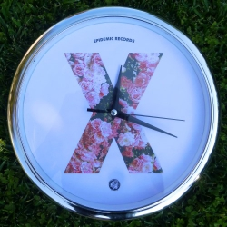 Epidemic Records - X Clock (Roses) - Wall Clock (Silvery Frame)